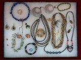Glass Bead Necklace,Earring, Bracelet & Brooch Lot