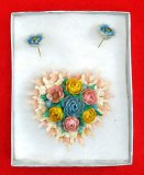 Flower & Heart Brooch & Earring Set