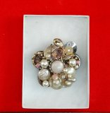 Costume Jewelry Brooch w/ Faux Pearl, Cabochons