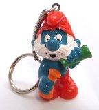 Vintage Chemist Papa Smurf PVC Figural Keychain