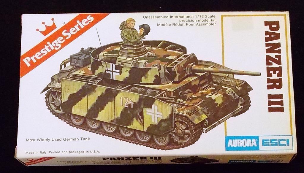 Aurora ESCI - 1/72 Scale German Panzer III Tank Military Vehicle Model Kit