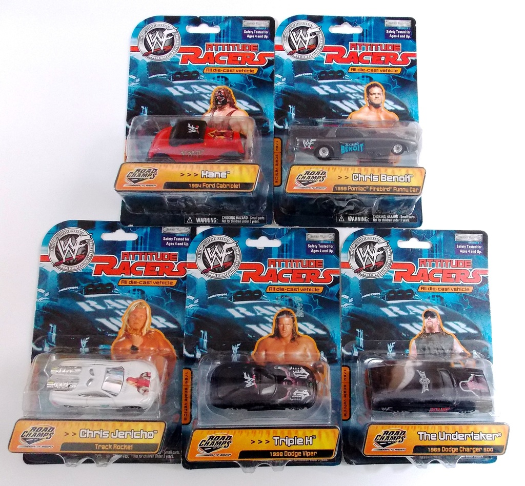 Road Champs WWE Wrestling 1:64 Diecast Attitude Racers Cars - Set of 5