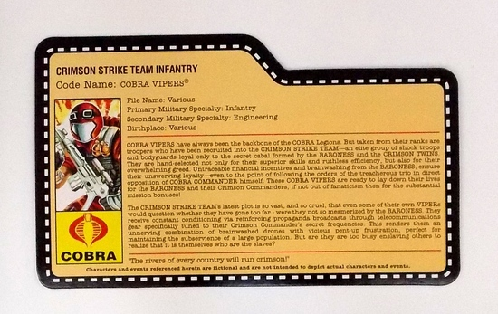 Crimson Strike Team Cobra Vipers G.I. Joe Convention Exclusive FileCard