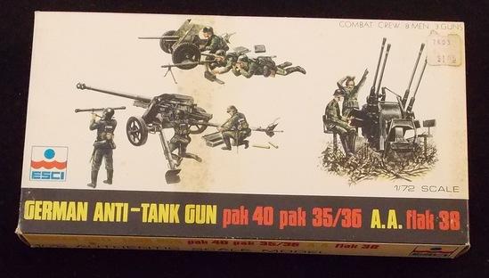 ESCI 1/72 Scale German Anti-Tank Gun Pak 40, Pak 35/36 A.A. Flak 38 Model Figures