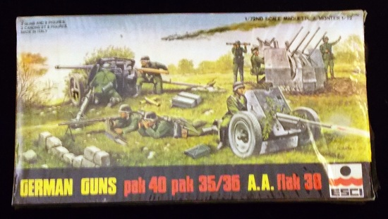 ESCI 1/72 Scale German Guns Pak 40 Pak 35/36 A.A. Flak 38