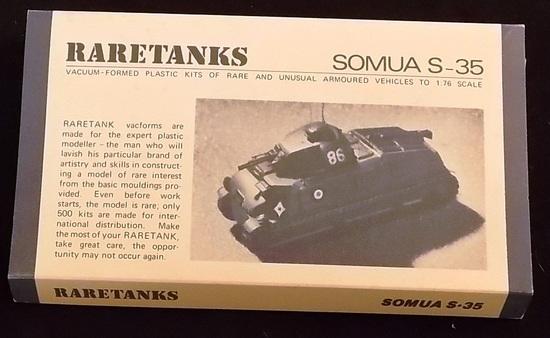 Raretanks 1/76 Scale Somua S-25 Vacuum-Formed Plastic Armoured Vehicle Model Kit