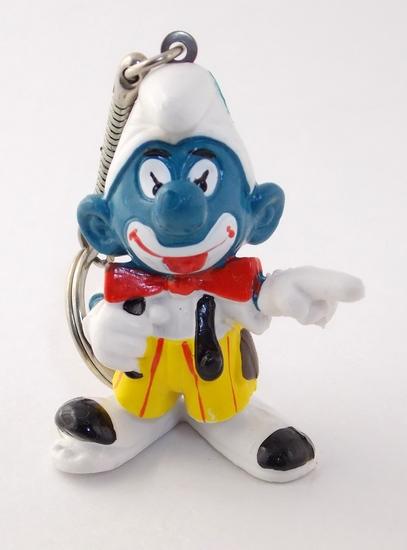 Vintage Clown Smurf PVC Figural Keychain