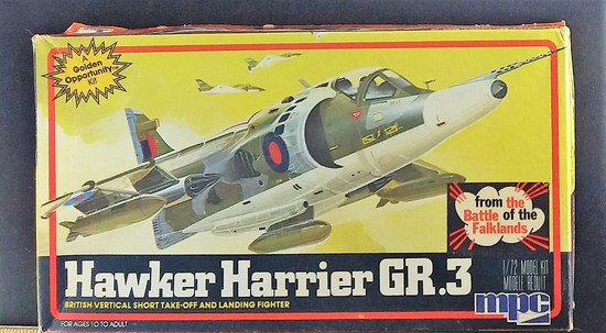 MPC 1/72 Scale Hawker Harrier GR.3 Military Jet Vehicle Model Kit