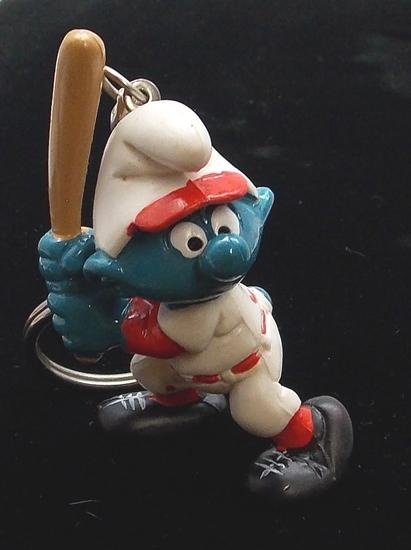 Vintage Baseball Smurf PVC Figural Keychain