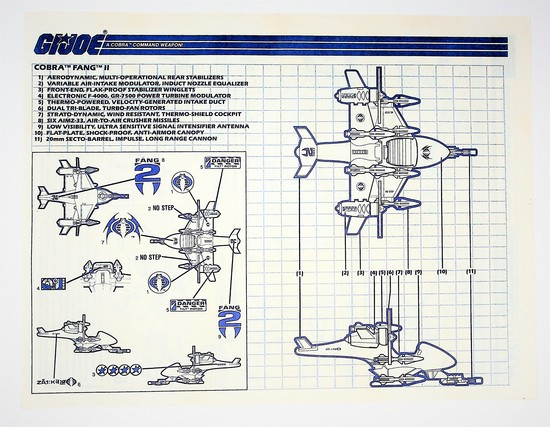 GI Joe Vintage Cobra Fang II Original Hasbro Vehicle Blueprints / Instructions Hasbro