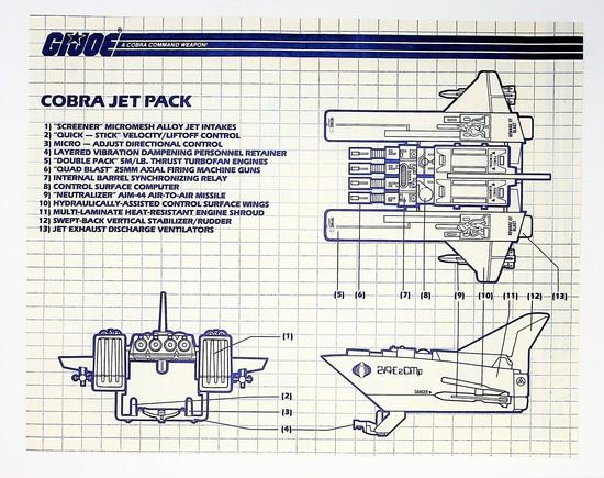 GI Joe Vintage Cobra Jet Pack Original Hasbro Vehicle Blueprints / Instructions Hasbro