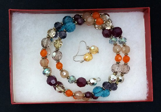 Multicolored Necklace & Earring Set w/ Multicolored Beads