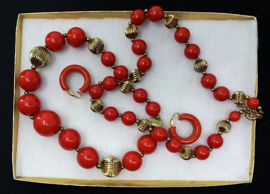 Chunky Beaded Red & Gold Necklace & Earring Lot