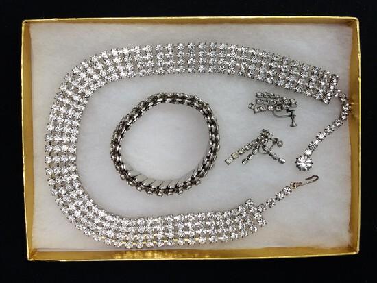 Necklace, Earring, & Bracelet Set w/ Clear Rhinestones