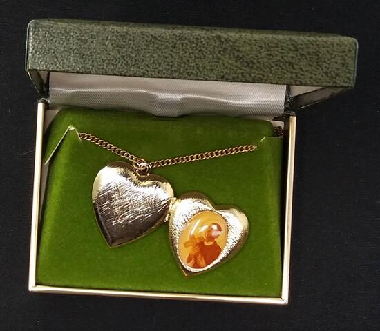 Heart Locket Pendant Necklace w/ Box