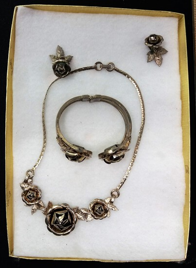Rose-Themed Necklace, Earring, & Hinged Bracelet Costume Jewelry Set