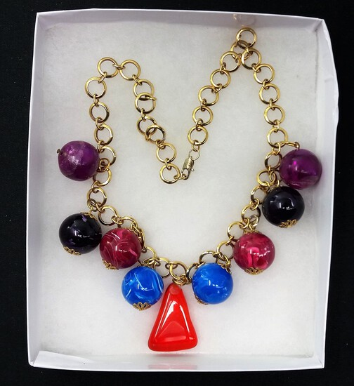 Costume Jewelry Necklace w/ Chunky Multicolored Glass Beads