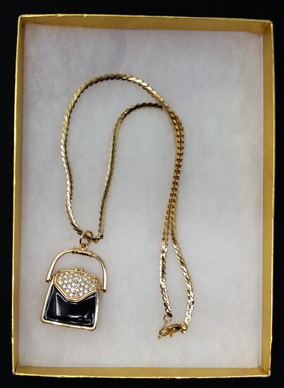 Gold-Tone Opening Purse Locket Necklace