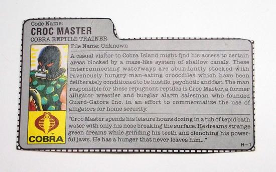 Vintage Croc Master GI Joe FileCard