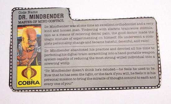 Vintage Dr. Mindbender GI Joe FileCard