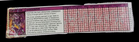 Shockwave Transformers G1 Tech Spec / File Card