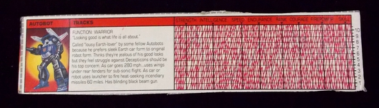 Tracks Transformers G1 Tech Spec / File Card