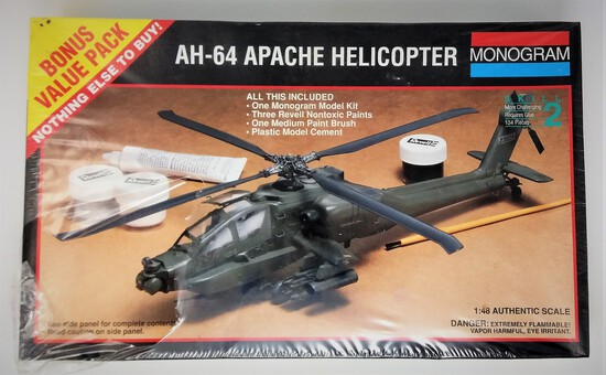 1/48 Scale AH 64 Apache Attack Helicopter Monogram Plastic Model Kit