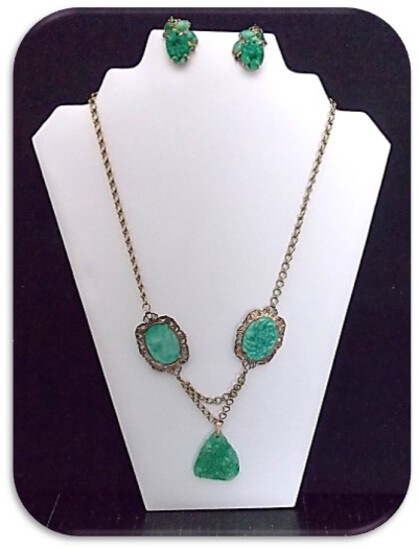 Necklace & Earring set w/ Flower Decorated Jade Stone