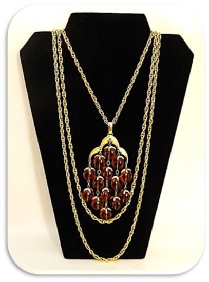 Trifari Crown Vintage Necklace with Citrine Rhinestone