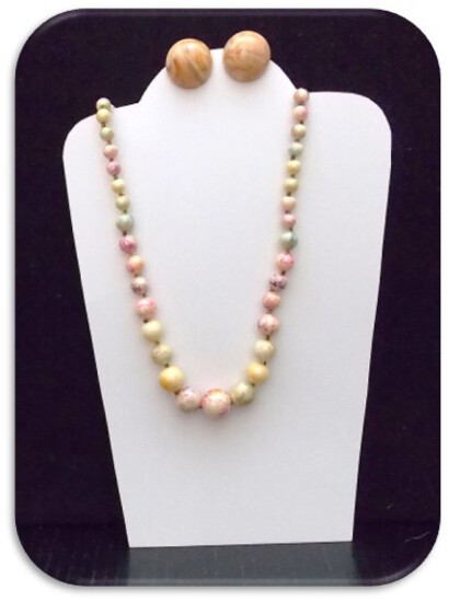 Necklace & Earring set w/ Pink Web & Jasper Beads