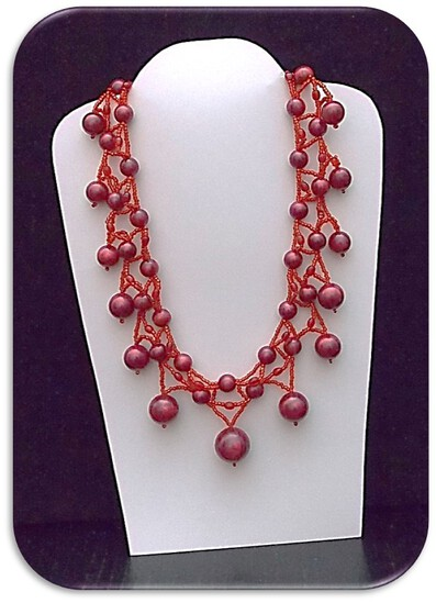 Necklace w/ Celluloid & Glass Beads
