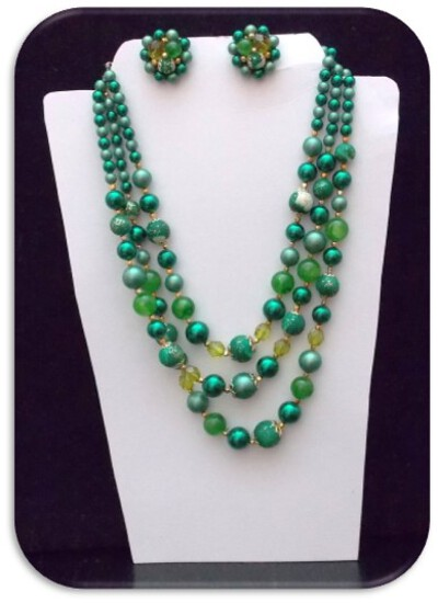 Necklace & Earring set w/ Celluloid Beads & Green Crystal