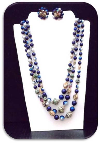 Necklace & Earring set w/ Celluloid & Beads