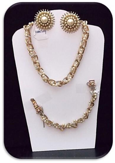 Barclay Necklace, Bracelet, & Earring set w/ Faux Pearl