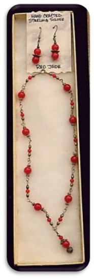 Hand Crafted Sterling Silver Necklace & Earring set with Red Jade