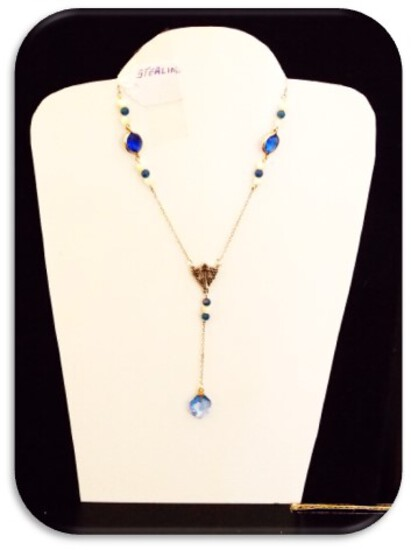 Sterling Silver Necklace with Blue Stones