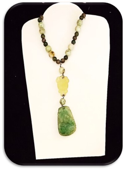 Vintage Necklace w/ Glass Beads & Jade Pendant
