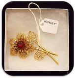 Monet Flower Brooch w/ Pronged Stone