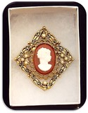 Brooch w/ Faux Pearl & Glass Cameo