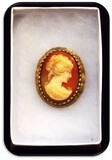 Vintage Cameo Brooch w/ Imported Stone