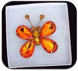 Vintage Butterfly Brooch w/ Orange & Citrine Pronged Stones