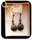 Vintage Sterling Silver Earrings with Black Stone