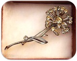 Vintage Flower Brooch with Pronged Stones