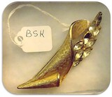 Vintage B.S.K. Brooch with Clear Rhinestones