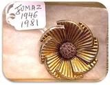 Vintage Jomaz Brooch with Amethyst Rhinestones
