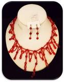 Necklace & Earring set w/ Siam Ruby