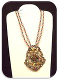 Vintage Necklace & Earring set w/ Clear & Green Rhinestones