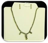 Czechoslovakian Fashion Jewelry Necklace/Earring Set with Rhinestones