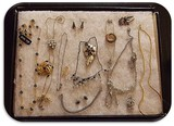 Lot of Necklaces, Earrings, Bracelets and Brooches with Rhinestones