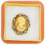 Vintage Brooch with Imported Cameo with Pearl